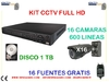 kIT videovigilancia full HD camaras domo disco 21 tb