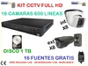 Kit  16 camaras FULL HD de videovigilancia + DVR 1 tb