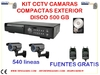 Kit 2 camaras domo 540 lineas,DVR 500 gb
