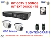 Kit 2 domos 600 lineas + DVR 1 TB en disco