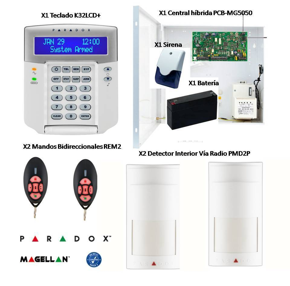 Hybrid Kit Central Paradox Alarm Wireless Detectors And