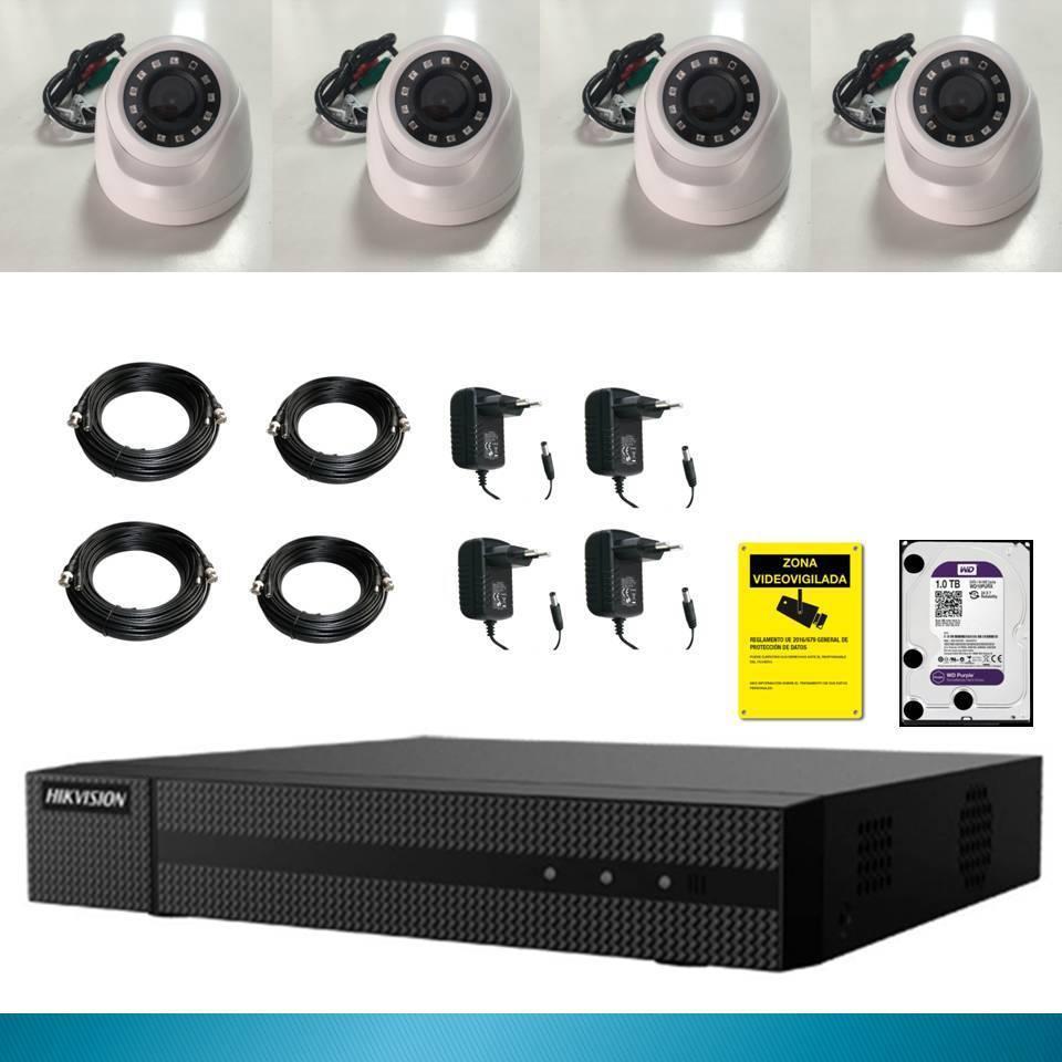 Kit vid/éo Surveillance DAHUA Full HD 4 cam/éras d/ômes de 2 Mpx