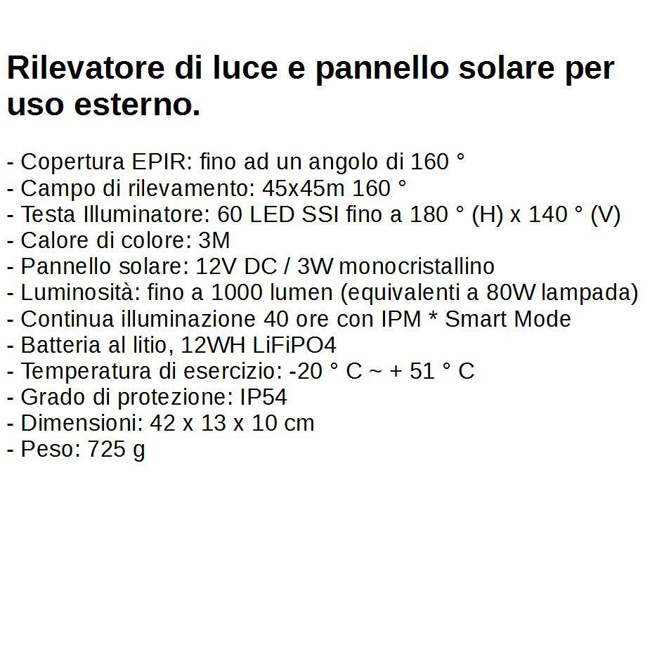 Pannello Solare Per Uso Domestico : Rilevatore di luce e pannello solare per uso esterno