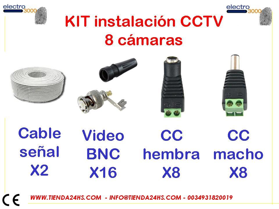Kit Materiales Para Instalacion De 8 Cctv Para 8 Camaras