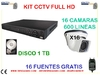kIT  HD 16 camaras domo 600 lineas ext disco 1 tb