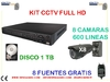 kIT  HD 8 camaras compacta 600 lineas ext disco 1 tb