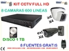 Kit  8 camaras FULL HD de videovigilancia + DVR 1 tb