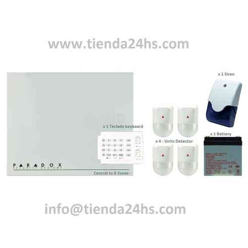 Kits with 4 wired alarm siren detectors keyboard