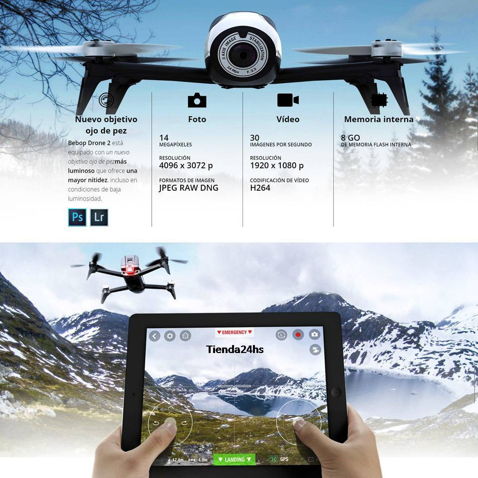 bebop drone 2 parrot hasta 25 minutos 2 km 14 mp vientos 60 km. Black Bedroom Furniture Sets. Home Design Ideas