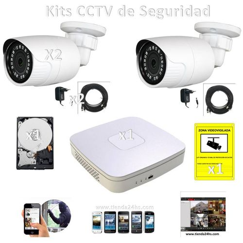 Kits CCTV Cameras 1 2 cables 1 disc recorder