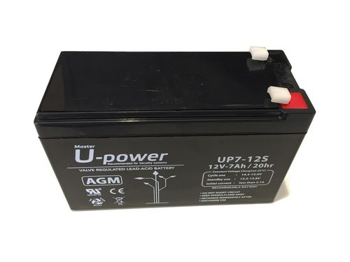 Battery power 12 V and 7 Ah