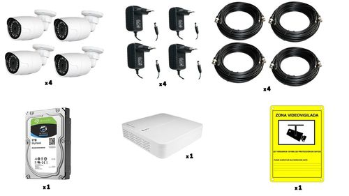 Cctv kit 4 cameras/1 recorder/1 disc/cables/power supplies