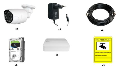 Cctv kit 8 cameras/1 recorder/1 disc/cables/power supplies