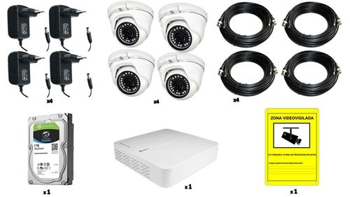 Cctv kit 4 dome cameras/1 recorder/1 disc/cables